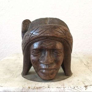 Vintage Wood Carved Indian Indigenous Bookend